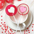 Red heart lollipops — Stock Photo