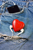 Heart and headphones — Stockfoto