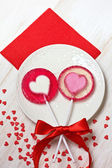 Rood hart lollies — Foto de Stock