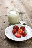 Fresas y yogurt — Foto de Stock
