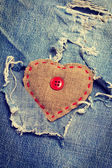 Heart on jeans — Photo