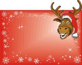 Christmas Reindeer On Blank Sign — Stock Vector