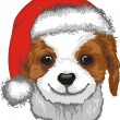 Cute Puppy In Santa Hat — Stock Vector