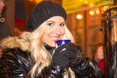 Blond Girl on Christmas Market — Stock Photo