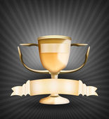 Gold Award Trophy Cup with Banner — Foto Stock