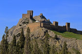 Genoese fortress above the trees in spring — Stockfoto