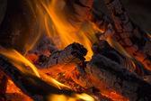 Firewood burned in a bonfire closeup — Stock Photo