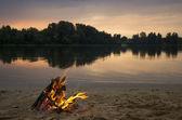 Bonfire on the sandy beach — Stock Photo