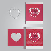 Template сards with a heart and the words of love — Stock Photo