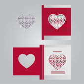 Template cards with hearts — ストックベクタ