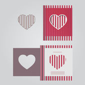 Template cards with red lines — Vector de stock