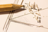 Pencil on a scrubbed sheet — Φωτογραφία Αρχείου
