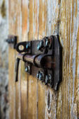 Old bold on a wood door — Stock Photo