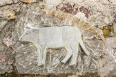 Decoration with cow on an ancient wall — Stock Photo