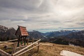Top of the mountain with a little chapel — Stock Photo