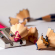 Sharpening a red pencil — Stock Photo
