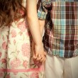 Stock Photo: Little boy and girl holding hands
