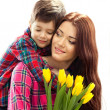 Spring portrait of mother and son on Mothers Day — Stock Photo