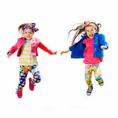 Cute happy children jumping on white background — Stock Photo
