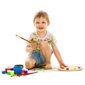 Little boy painting — Stock Photo