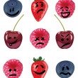 Positive and negative emotion fruit set — Stock Vector
