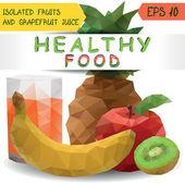 健康食品の果物とグレープ フルーツ ジュース セット — ストックベクタ