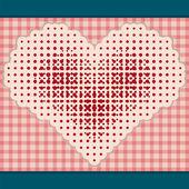 Srdce červené tečky na béžové pozadí — Stock vektor