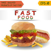 Isolated burger, fries and hot dog. Polygonal vector — Stock Vector