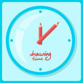 Clocks show time to drawing — Stock Vector