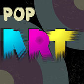 Pop art logotype poster on dark background — Stock Vector