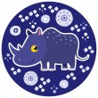 African cartoon animal vector character. Rhinoceros. — Stock Vector
