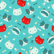 Cute cartoon cats vector seamless pattern. — Stock Vector