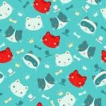 Cute cartoon cats vector seamless pattern. — Stock Vector
