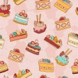 Cakes slices vector seamless pattern. — Stock Vector #38089545