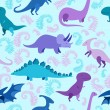 Cartoon dinosaur vector seamless pattern. — Stock Vector