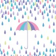 Umbrelland raindrop seamless vector pattern. — Stock Vector #38089783