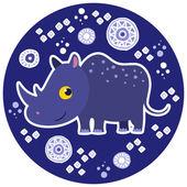 Африканских животных Векторный мультфильма. носорог. — Cтоковый вектор