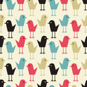 Cute little bird seamless vector pattern. — 图库矢量图片
