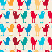 Cute little bird seamless vector pattern. — Vector de stock