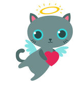 Angel cat with heart isolated vector illustration. — Stock Vector