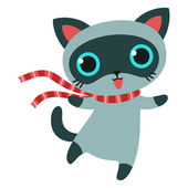 Cat character in striped scarf isolated vector illustration. — Stock Vector