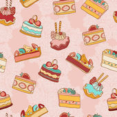 Cakes slices vector seamless pattern. — Stock Vector