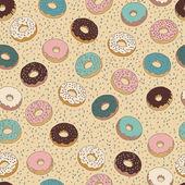 Doughnuts seamless vector pattern. — Stock Vector