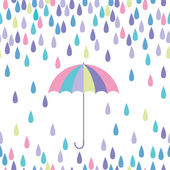 Umbrella and raindrop seamless vector pattern. — Stock Vector