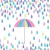 Umbrella and raindrop seamless vector pattern. — Stock Vector