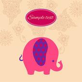 Cute cartoon colorful elephant vector card. — Stock Vector