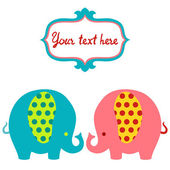 Cute cartoon colorful elephants vector card. — Stock Vector