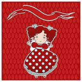 Small cute girl vector illustration. — Stockvektor