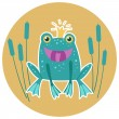 Cute frog vector character. — Stock Vector