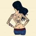 Tattooed girl vector illustration. — Stock Vector